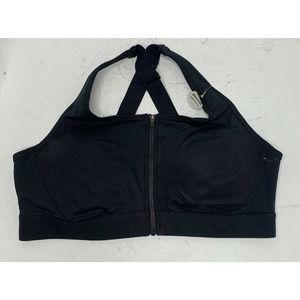 NWT DULUTH Black Padded Zip Up Sports Bra Size 18